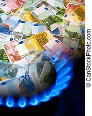 EURO notes and gas stove