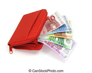Euro notes and wallet - Euro notes and red wallet, white...