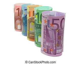 10, 20, 50, 100 and 500 euro notes in a row, isolated in white