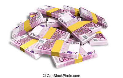 Euro Notes Scattered Pile - A pile of randomly scattered...