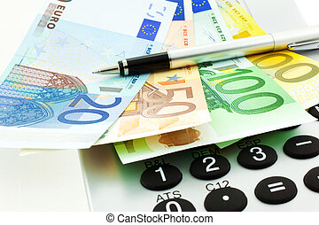Euro Notes with Calculator and pen
