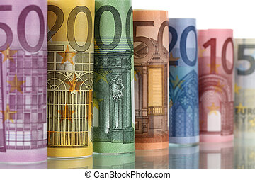 Euro notes with reflection - All Euro notes of the European...