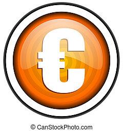 euro orange glossy icon isolated on white background