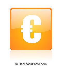 euro orange square glossy web icon