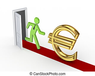 euro, osoba, podpis., běh, 3, malý