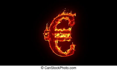 euro, płonący, znak