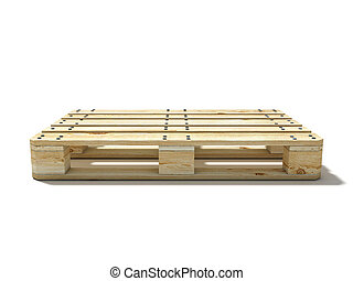 Euro pallet. Side view. 3D render illustration isolated on ...