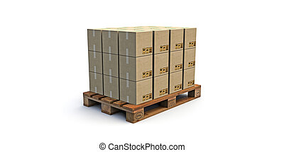 euro pallet with many cardboard boxes on it isolated on...