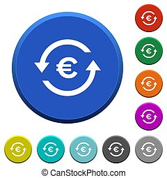 Euro pay back beveled buttons