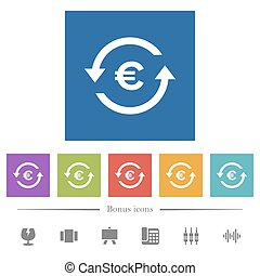 Euro pay back flat white icons in square backgrounds. 6...