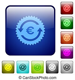 Euro pay back guarantee sticker color square buttons