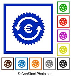 Euro pay back guarantee sticker flat framed icons - Euro pay...