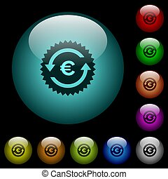 Euro pay back guarantee sticker icons in color illuminated...