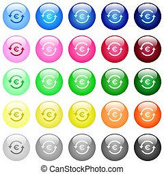 Euro pay back icons in color glossy buttons