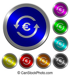 Euro pay back luminous coin-like round color buttons