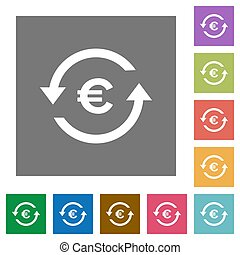 Euro pay back square flat icons