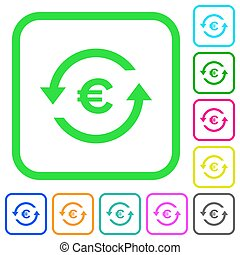 Euro pay back vivid colored flat icons in curved borders on...