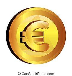 euro, pengar, guld, ikon