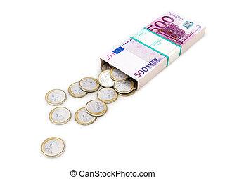 euro, penge æske, på hvide, isoleret, ba