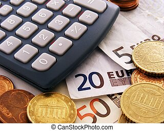 euro, penge, og, regnemaskine