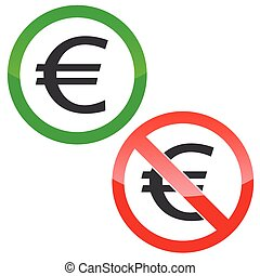 Euro permission signs set