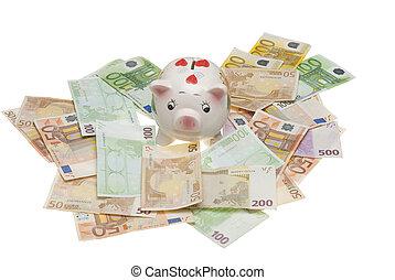 euro, piggy bank