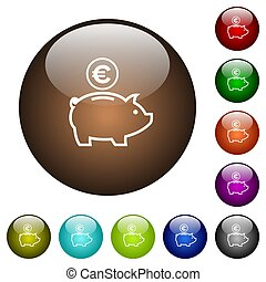 Euro piggy bank color glass buttons