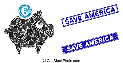 Euro Piggy Bank Mosaic and Scratched Rectangle Save America Stamps