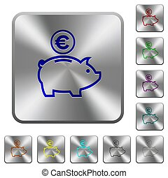Euro piggy bank rounded square steel buttons