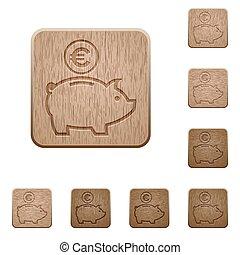 Euro piggy bank wooden buttons