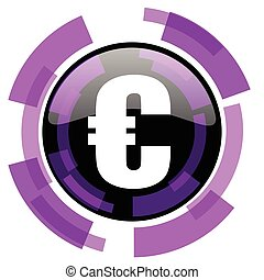 Euro pink violet modern design vector web and smartphone icon. Round button in eps 10 isolated on white background.