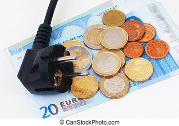Isolated Power plug with European Banknote and coins - electricity costs concept