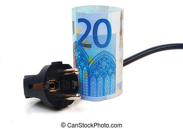 Isolated Power plug with European Banknote - electricity costs concept