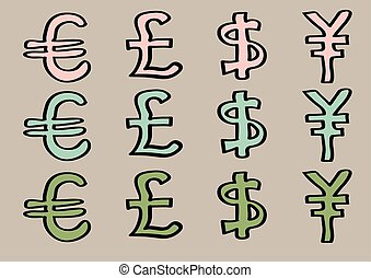 Euro Pound Dollar and Yen Signs as Currency Symbols