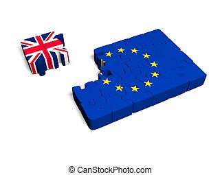 Euro Puzzle and one  Piece with Great Britain Flag. 3D illustration.  CG.