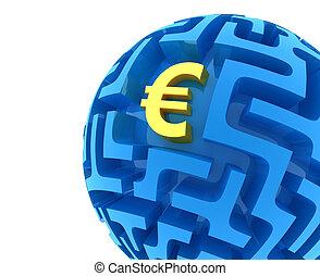 Euro puzzle. Money Sphere Maze