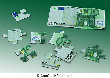 Euro puzzle toy and a sample hundred euro banknote (High quality 3d render)