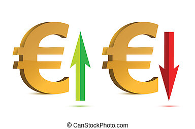 Euro raising and falling sign illustration designs