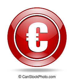 euro red web glossy round icon