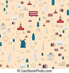 euro, resa, turism, resa, design, berömd, seamless, mönster, byggnad, internationell, vektor, illustration.