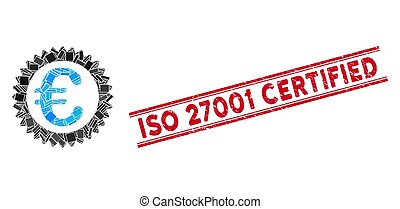 Euro Reward Stamp Mosaic and Scratched ISO 27001 Certified Stamp with Lines