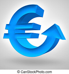 Euro Rise - Euro symbol merged with up arrow. 3D render....