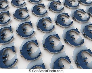 euro, símbolos, sobre, fundo branco, iluminado, por, luz dia