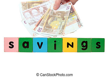 euro savings in toy letters