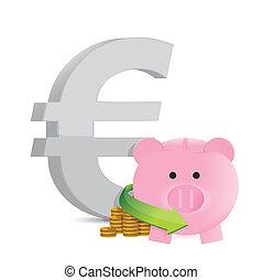 euro savings profits illustration design