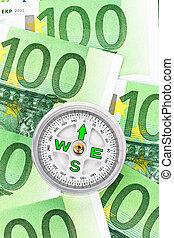 euro sedlar, och, a, kompass