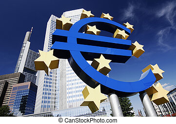 Euro Sign At EZB - Euro sign in front of the European...