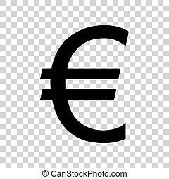 Euro sign. Black icon on transparent background.