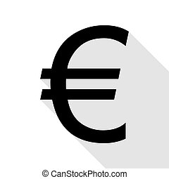 Euro sign. Black icon with flat style shadow path.
