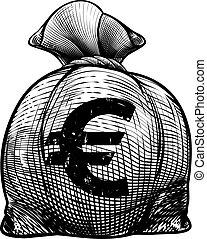 Euro Sign Burlap Sack or Money Bag